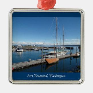 港のTownsendワシントン州の海のボートの眺め メタルオーナメント