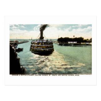 港を去るグラハム及びMorton (G&Mライン)の汽船 ポストカード
