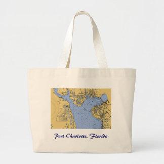 港シャーロット、フロリダの航海のな図表のトートバック ラージトートバッグ