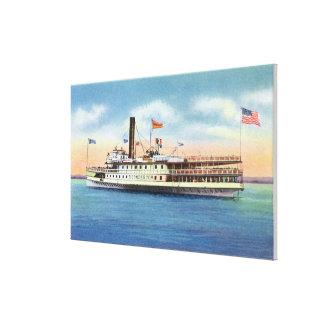 港バーリントンを去るTiconderogaの汽船 キャンバスプリント