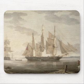 港1805年の船(キャンバスの油) マウスパッド