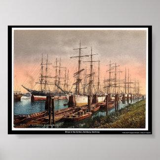 港、ハンブルク、ドイツの船 プリント