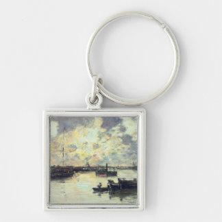 港、c.1895 (パネルの油) キーホルダー