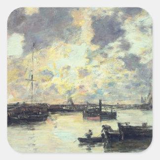 港、c.1895 (パネルの油) スクエアシール