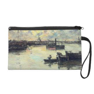 港、c.1895 (パネルの油) リストレット