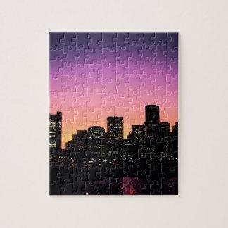港.pngからのボストン日没のスカイライン ジグソーパズル