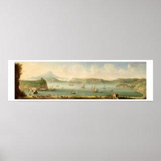 港Mahon、Minorcaの1730年代(キャンバスの油) ポスター