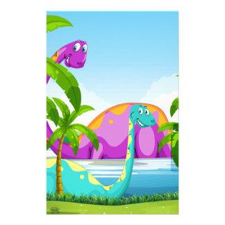 湖で楽しい時を過している恐竜 便箋