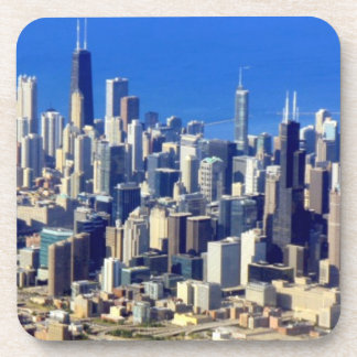 湖と都心のシカゴの空中写真 コースター