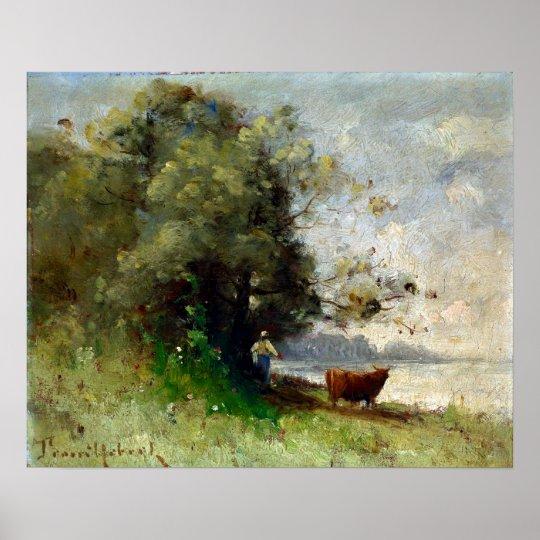 湖によるポールDésiré Trouillebert ポスター