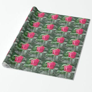 湖による花-赤いバラの芽 ラッピングペーパー