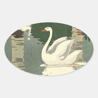 湖に反映される白い白鳥 楕円形シール