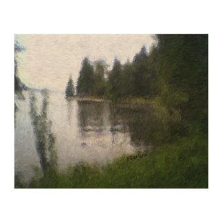 湖のスイレンの浮いている葉のデザインの木のキャンバスのプリント ウッドウォールアート