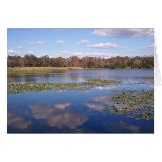 湖のスタンプの反射 グリーティングカード