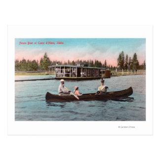 湖のハウスボートの眺め ポストカード