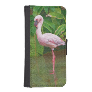 湖のピンクのフラミンゴ iPhoneSE/5/5sウォレットケース
