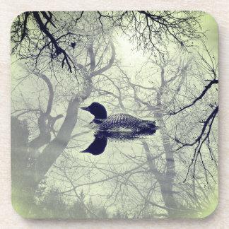 湖の一組のコースターの白黒水潜り鳥 コースター