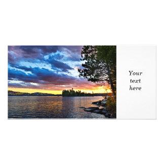 湖の劇的な日没 カード