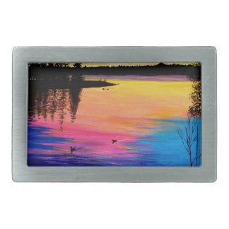 湖の夜明け 長方形ベルトバックル