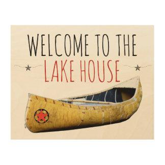 湖の家の木製の壁の芸術への歓迎 ウッドウォールアート