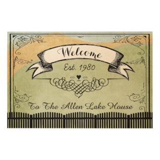 湖の家への名前入りなカスタムの歓迎 ウッドウォールアート