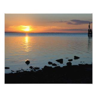 湖の日没 フォトプリント