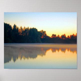 湖の景色 ポスター