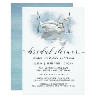 湖の水彩画のブライダルシャワーの白鳥 カード