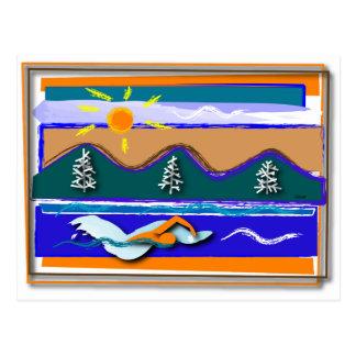 湖の水泳 ポストカード