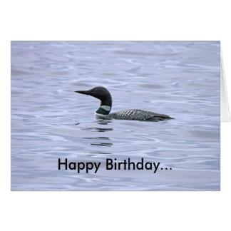 湖の水潜り鳥のバースデー・カード カード
