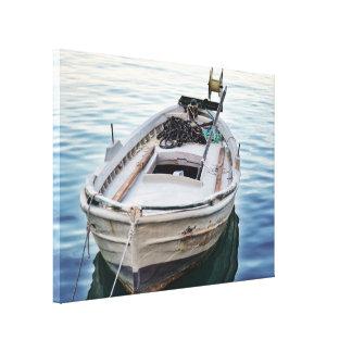 湖の漁船のギャラリーのキャンバス キャンバスプリント