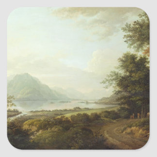 湖の畏怖、Argyllshire、c.1780-1800 (キャンバスの油) スクエアシール