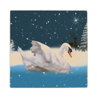 湖の白鳥とのSnowy夜 ウッドコースター