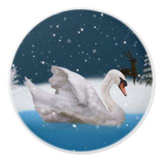 湖の白鳥とのSnowy夜 セラミックノブ