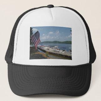 湖の矢じりのマリーナの米国旗 キャップ