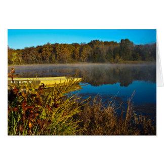 湖の秋の朝 カード
