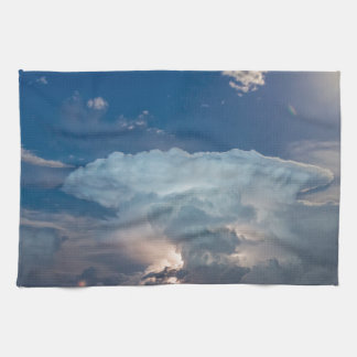 湖の稲妻の雷雨の顕著な、満月 キッチンタオル