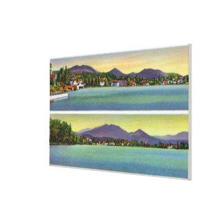 湖の花の2つの眺め キャンバスプリント
