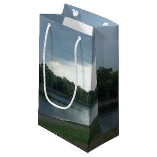 湖の谷上の暗く威嚇的な嵐雲 スモールペーパーバッグ