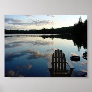 湖の雪の日没 ポスター