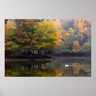 湖の霧深い朝-ポスター ポスター