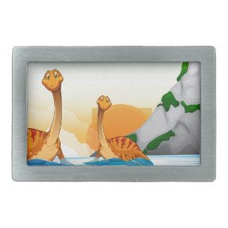 湖の2匹の恐竜 長方形ベルトバックル