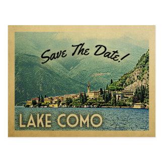 湖のComoの保存日付Menaggioイタリア ポストカード
