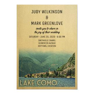 湖のComoの結婚式招待状Menaggioイタリア カード