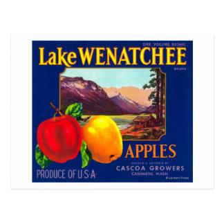 湖のWenatchee Appleのラベルの(青い) -カシミヤ織、WA ポストカード