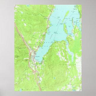 湖ジョージニューヨーク(1966年) 2のヴィンテージの地図 ポスター