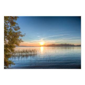 湖上の日没 フォトプリント