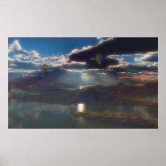 湖上の気球の乗車 ポスター
