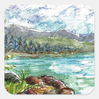 湖場面-水彩画の鉛筆 スクエアシール
