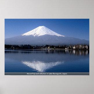 湖川口町、日本の富士山そして反射 ポスター